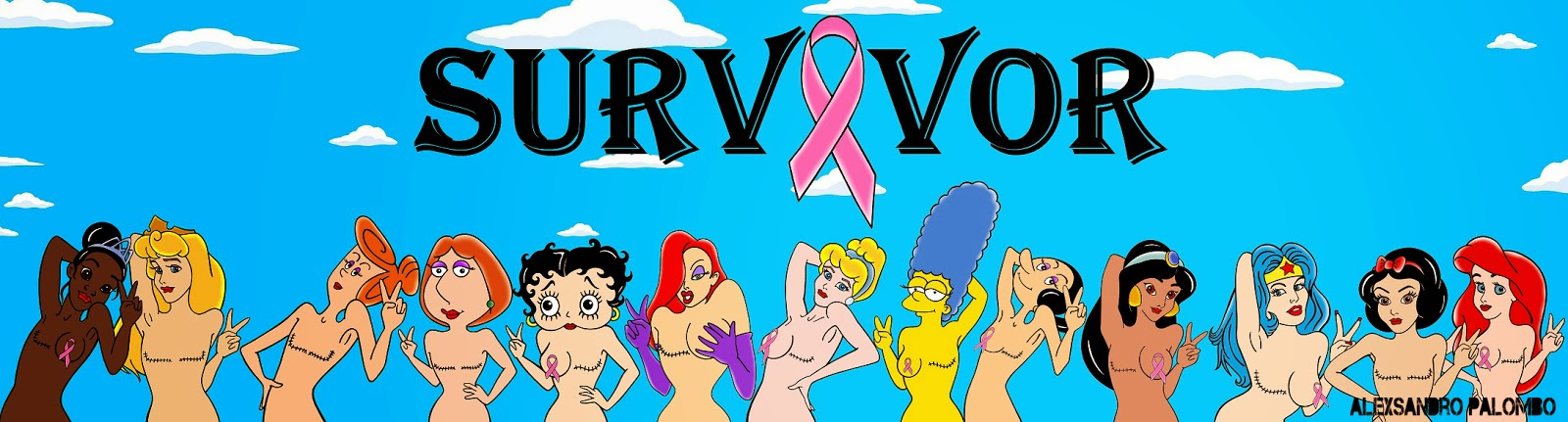 SURVIVOR Breast Art Campaign Iconic The  Simpsons Wilma Flintstone Marge Lois Griffin Wonder Woman Cinderella Aurora Snow White