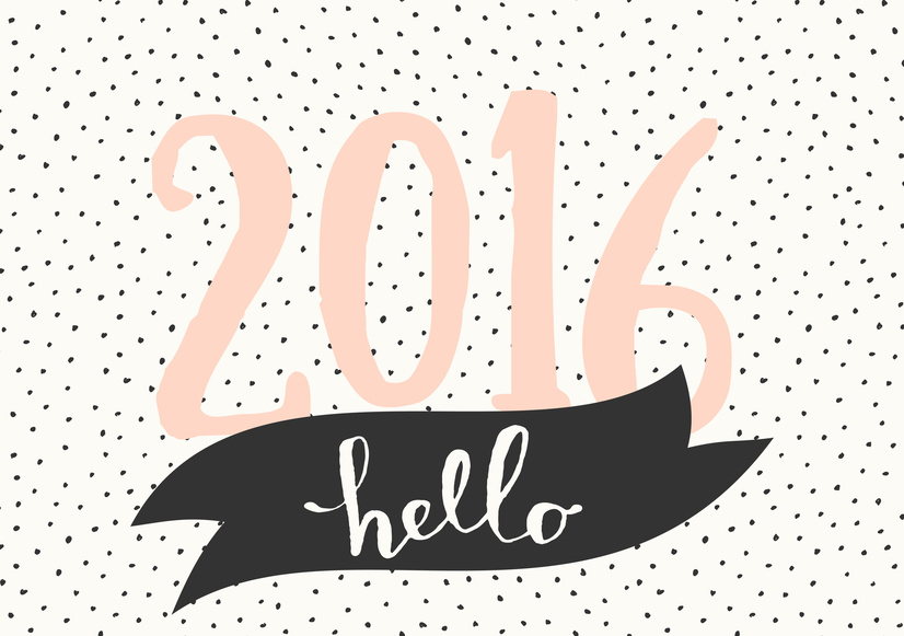 """Typographic design greeting card template """"Hello 2016"""". Vintage style poster, greeting card, postcard design in black, cream and pastel pink."""